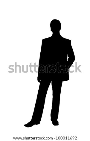 silhouette of a man in a suit - stock photo