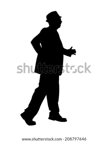 Silhouette of a man in a suit and hat walking quickly  isolated on white. - stock photo
