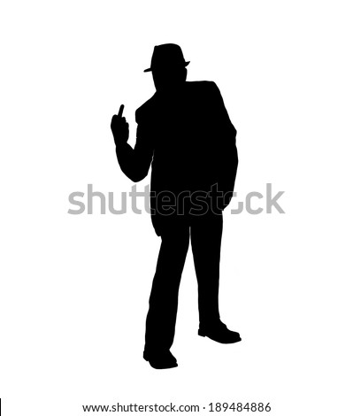 Silhouette of a man in a suit and hat with middle finger raised in  the vulgar hand gesture known as flipping the bird isolated on  white. - stock photo