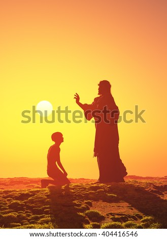 Silhouette of a man on his knees before Jesus.3d render