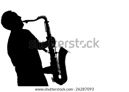 Silhouette of a man playing a saxophone - stock photo