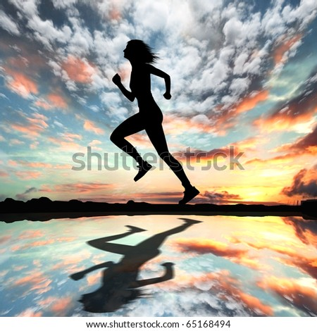 Silhouette of a man running against the evening sky