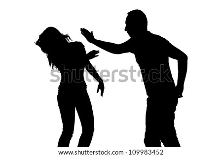 Silhouette of a man slapping a woman depicting domestic violence isolated on white background - stock photo