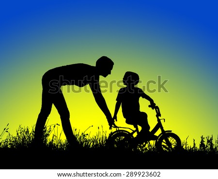 silhouette of a mother who teaches his son to ride a bike.