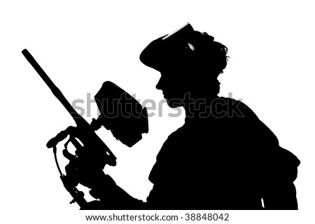 silhouette of a paintball shooter isolated on white - stock photo