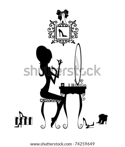 Silhouette of a pretty girl at her vanity applying makeup isolated on white - stock photo
