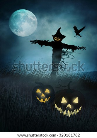 Silhouette of a scarecrow in fields of tall grass at night - stock photo