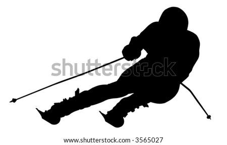 Silhouette of a skier. Sports. Winter. Snow. Extreme. - stock photo