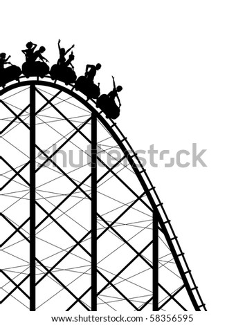 Silhouette of a steep roller coaster ride - stock photo