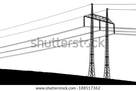 silhouette of a transmission tower with wires - stock photo