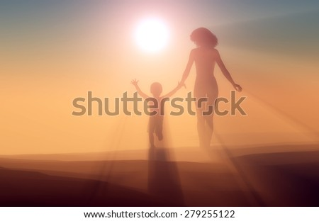 Silhouette of a woman and child in the fog. - stock photo