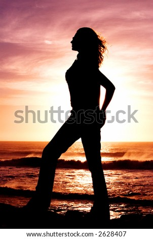 Silhouette of a woman in the setting sun - stock photo