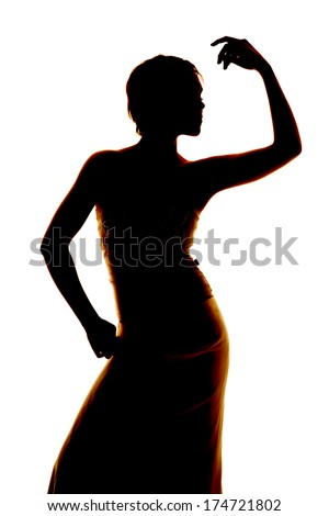 Silhouette of a woman posing in a dress. - stock photo