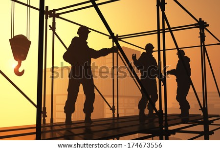 Silhouette of a worker in the background skyscrapers - stock photo