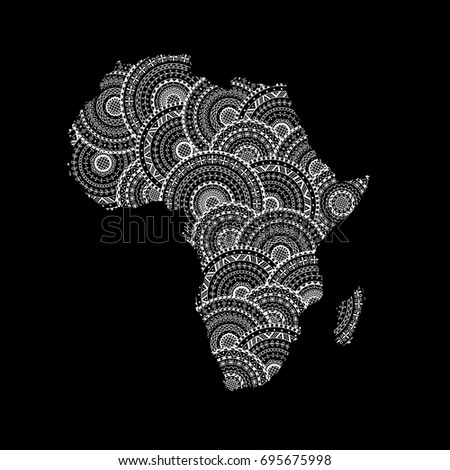 Silhouette Of Africa And Madagascar Map From Black White Round Mandalas Coloring Page Book