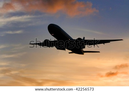 Silhouette of Airliner in flight.