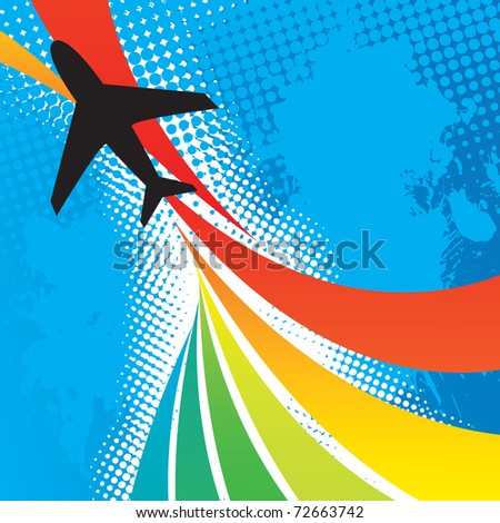 Silhouette of an airplane flying over an abstract rainbow colored backdrop with splattered halftone accents. - stock photo