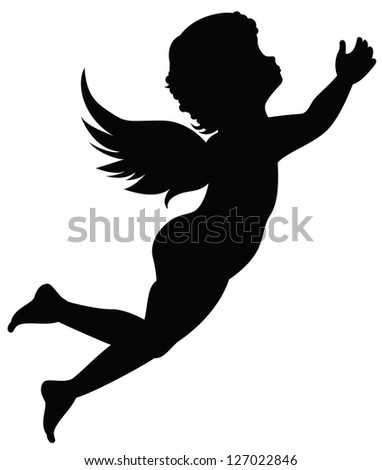 Silhouette of an angel - stock photo