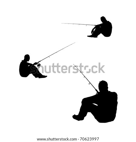Silhouette of an angler holding a fishing rod at various sitting position. - stock photo