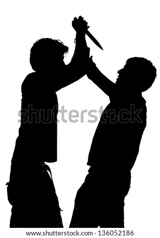 Silhouette of an attack with a knife depicting violence isolated against white background - stock photo