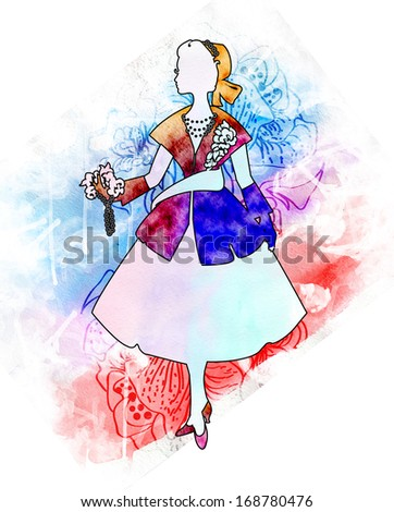 Silhouette of an elegant woman dressed in the style of Dior. Fashion of the twentieth century. luxurious design - stock photo