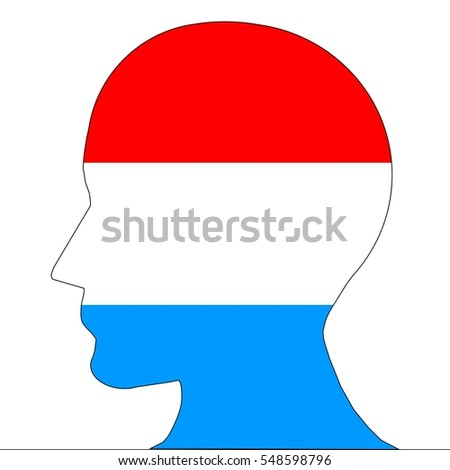 Silhouette of an head in the colors of luxembourg