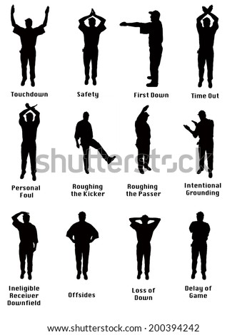 Silhouette of an NFL referee signaling common football fouls - stock photo