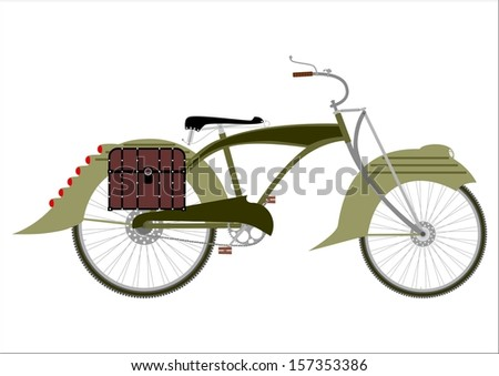 Silhouette of an old bicycle in a steampunk style on a white background. - stock photo