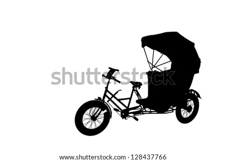 Silhouette of an oriental rickshaw cab, isolated against white. - stock photo