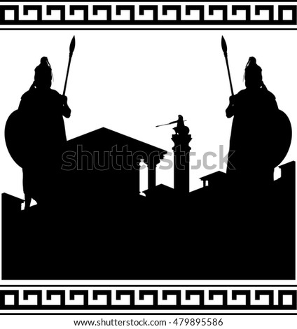silhouette of ancient city and guardians. raster version