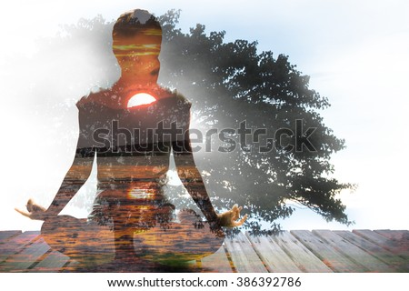 Silhouette of Asian woman yoga on the beach at the sunrise in the morning. Image by double layer technique create for business, healthcare, sport and lifestyle of people., - stock photo