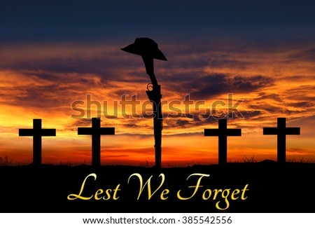 Silhouette of Australian ANZAC soldiers against the sky. - stock photo