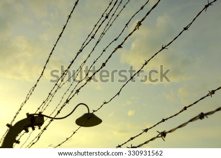 Silhouette of barbed wires fences on yellow sunset sky background in Auschwitz Birkenau Concentration Camp. Poland (Selective focus)