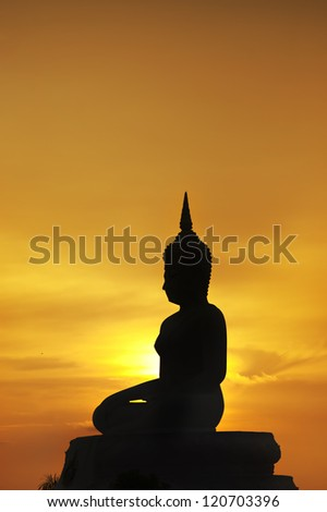 silhouette of big buddha