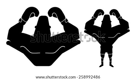 Silhouette of big muscular boxer with hands raised up. Raster black color illustration isolated on white  - stock photo