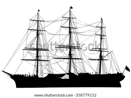 Silhouette of big ship on white background - stock photo