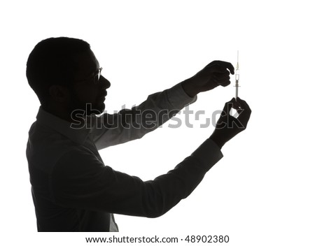 Silhouette of black doctor with medical syringe, isolated on white background. - stock photo