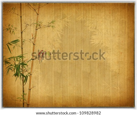 Silhouette of branches of bamboo and birds on paper background - stock photo