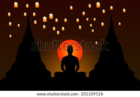 Silhouette of buddha at night and the lanterns floating in the sky,Thailand - stock photo