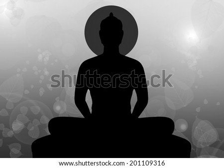 Silhouette of buddha in black & white style, Thailand - stock photo