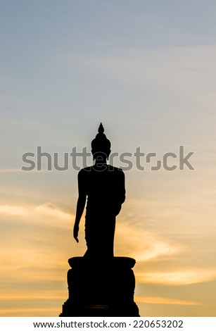 Silhouette of Buddha Statue in the Phutthamonthon district, Thailand