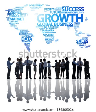 Silhouette of Business Growth - stock photo