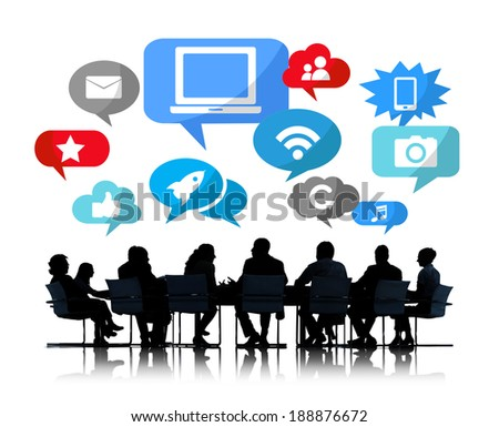 Silhouette of Business Meeting With Social Networks - stock photo