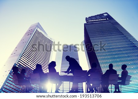 Silhouette of Business People Meeting Outdoors - stock photo