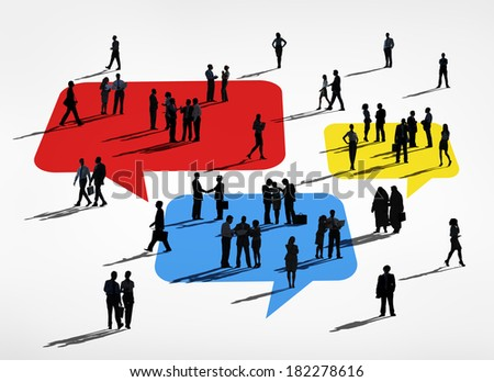 Silhouette of Business People Standing On Colorful Speech Bubbles - stock photo