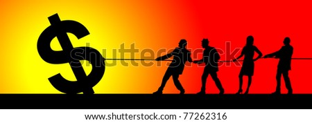 Silhouette of business team pulling the dollar symbol - stock photo