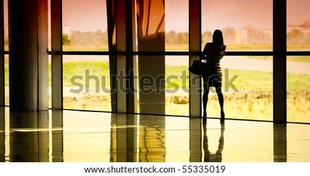 silhouette of businesswoman - stock photo