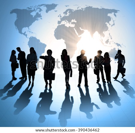 Silhouette of busy entrepreneurs working, discussing, and meeting together. Shot with world map background - stock photo