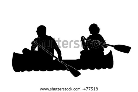 Silhouette of Couple Canoeing - stock photo