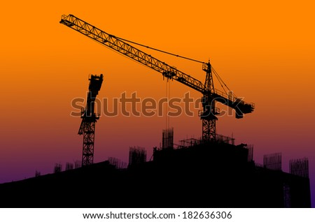 Silhouette of crane  on Construction site